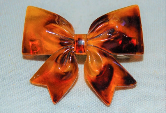 Vintage Antique Brass and Tortoise Shell Barrette With Bow Ribbon Flower Clip Hair Accessories