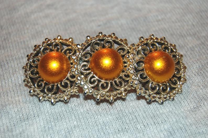 Barrette Hair Clip Orange Gold Enamel Barrette Vintage Old jewelry