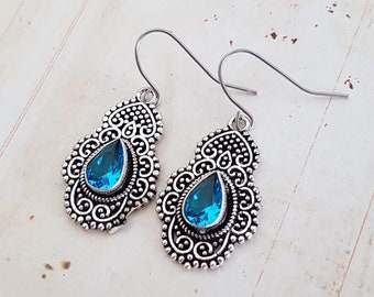 Boho Silver Filigree Topaz Blue Drop Earrings, Ethnic Antique Silver, Blue Glass Crystal, Aquamarine, Surgical Ear Wires or Screw Clips