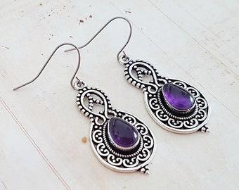 Boho Silver Filigree Purple Amethyst Drop Earrings, Ethnic Antique Silver Teardrop Earrings, Surgical Ear Wires or Screw Clips