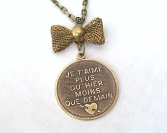 French Necklace, Love Poem Necklace, I Love You More Than Yesterday and Less Than Tomorrow Bow Necklace, Valentine Necklace