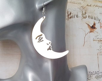 Big Silver and Gold Mirror Moon Earrings, Laser Cut Mismatched Drop Earrings, Moon Face, Choose Plated or Surgical Hooks or Studs