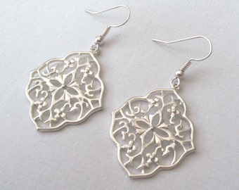 Silver Filigree Earrings, Modern Lace Earrings, Boho Earrings, Drop Earrings, Silver Earrings, Matte Silver. Plated, Sterling or Surgical