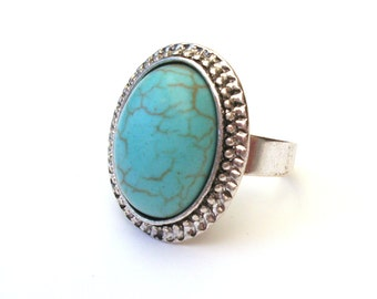 Turquoise Ring, Turquoise Cabochon on Antiqued Silver, Adjustable Ring, Boho Ring
