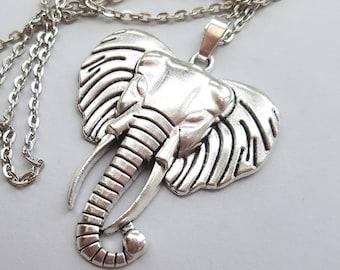 Big Silver Elephant Necklace, Large Elephant Pendant, Statement Necklace, Long Necklace, Antique Silver, Boho Necklace, Festival