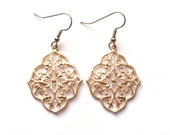 Gold Filigree Earrings, Modern Lace Earrings, Boho Earrings, Drop Earrings, Gold Earrings, Matte Gold, Plated, Gold Filled or Surgical Steel
