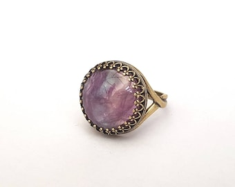 Beautiful Purple Fluorite Antique Bronze Plated Ring, Natural Gemstone, Adjustable Ring, Crown Set, Sterling Silver, Rose Gold, Yellow Gold