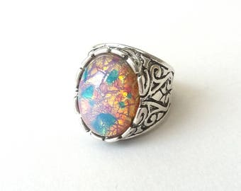 Chunky Fire Opal Elizabethan Style Ring, Antiqued Silver, Adjustable Ring, Cocktail Ring, Boho Ring, Festival Fashion