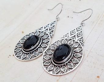 Big Boho Silver Filigree Black Onyx Earrings, Geometric Teardrop Ethnic Antique Silver Earrings, Surgical Ear Wires