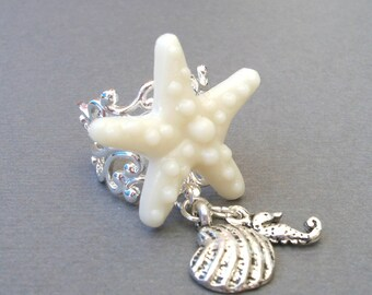 Down by the Seaside Starfish Ring, Seahorse Ring, Beach Ring, Shell Ring, Beach Wedding, Silver Filigree Ring