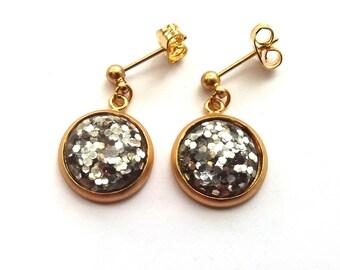 Silver Glitter Earrings in Matte Gold, Silver Glitter Cabochons, Gold Earrings, Stud and Drop Earrings
