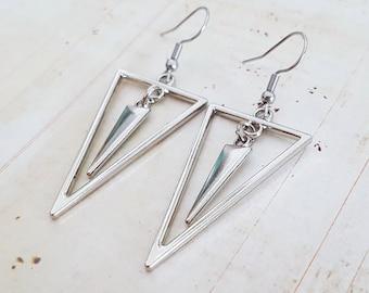 Silver Triangle Drop Earrings with Spike, Geometric, Minimalist Earrings, Choose Surgical or Plated Hooks