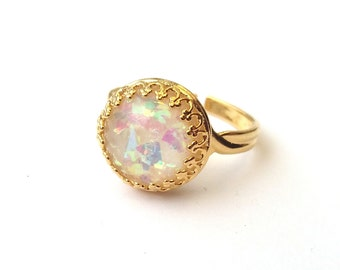 Shimmering Opal Ring, Quality Gold Ring, Faux Opal Cabochon, Adjustable Ring, October Birthstone, Also Sterling Silver or Rose Gold