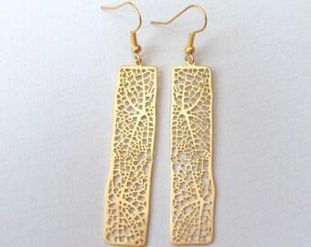 Gold Filigree Bar Earrings, Modern Lace Earrings, Drop Earrings, Long Gold Earrings, Geometric Earrings, Deco Wedding, Matte Gold