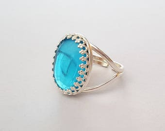 Sterling Silver Turquoise Jewel Ring, Vintage Czech Glass, Adjustable Ring, Blue Ring, or Choose Gold, Rose Gold, Antique Silver or Bronze