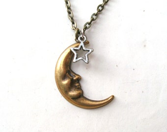 Antique Gold Moon Necklace, Moon and Star Necklace, Silver Star, Mismatched