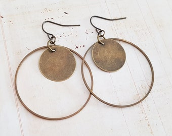 Bronze Hoop and Coin Drop Earrings, Antique Bronze Circle Lightweight Dangle Earrings, Bronze or Surgical Ear Wires