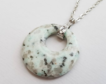 Pale Mint Kiwi Jasper Necklace, Stone Necklace, Silver Plated Chain, Donut Necklace, Boho Necklace, Tribal Necklace, Festival