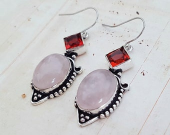 Rose Quartz and Red Crystal Boho Antique Silver Drop Earrings, Pink Rose Quartz Oval Cabochons, Surgical Ear Wires