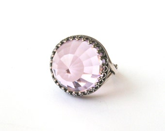 Sterling Silver Light Rose Pink Glass Crystal Ring, Silver Ring, Pink Ring, Pink Wedding, Pink Bridesmaid, or Choose Gold, Rose Gold, Bronze