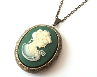 Classical Lady Green Cameo Locket, Green and Cream, Long Necklace, Victorian Locket, Classical Locket, Antiqued Bronze or Gunmetal