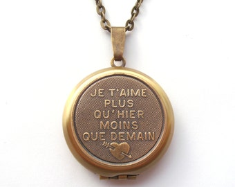 French Locket, Love Poem Necklace, I Love You More Than Yesterday and Less Than Tomorrow, Je t'aime, Valentine Locket, Valentine Necklace