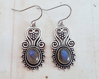 Boho Silver Filigree Shimmering Rainbow Blue Flash Labradorite Drop Earrings, Ethnic Antique Silver, Surgical Ear Wires or Screw Clips