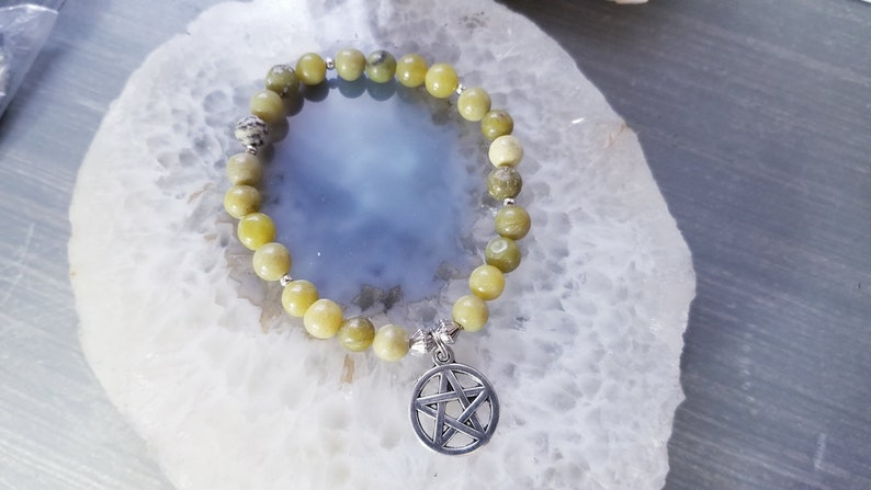 wiccan Pagan Poetry Collection Olive New Jade Pentacle Charm Bracelet 6 14 spiritual magickal goddess of herbs