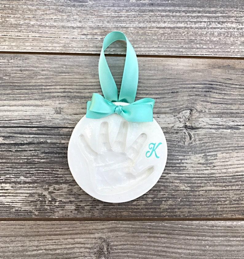 Baby Hand Print Handprint Ornament Ceramic Handprint Baby Handprint Kit Babys First Christmas Ornament Handprint Baby Ornament