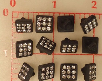 12 Black German Glass 12 Shank Buttons Antique Silver Accent Rhinestone Center Style #987