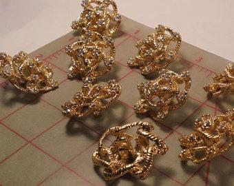 """2 Vintage Czech Shank Buttons Gold Twisty Twine Effect W Rhinestones 30mm 1-1/4"""""""