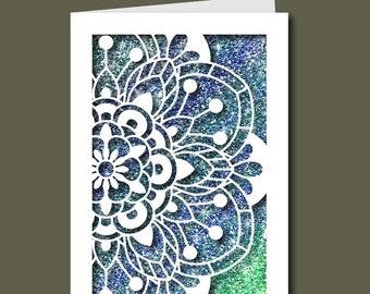 Flower Mandala Card - Paper Cut File for silhouette or circut - SVG file - Scrapbooking and Paper Art DIY