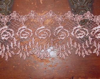 Hand Dyed Venise Lace Heirloom Bliss  Vintage Mauve Plum