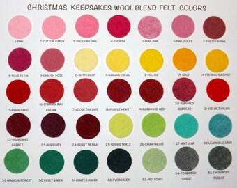 Wool Felt Sample Color Chart