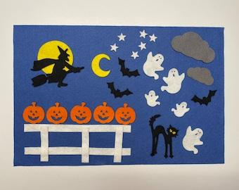 Halloween felt board sets, Five Little Pumpkins,  Kids Halloween gifts,  Toddler Halloween toy, Toddler toys, Halloween felt, Pretend play