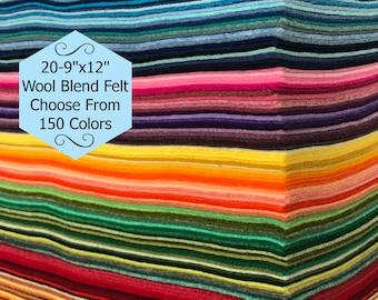 Wool Felt -20 sheets -9x12 inch - Wool Blend Felt - Craft Felt - Choose Your Own Colors
