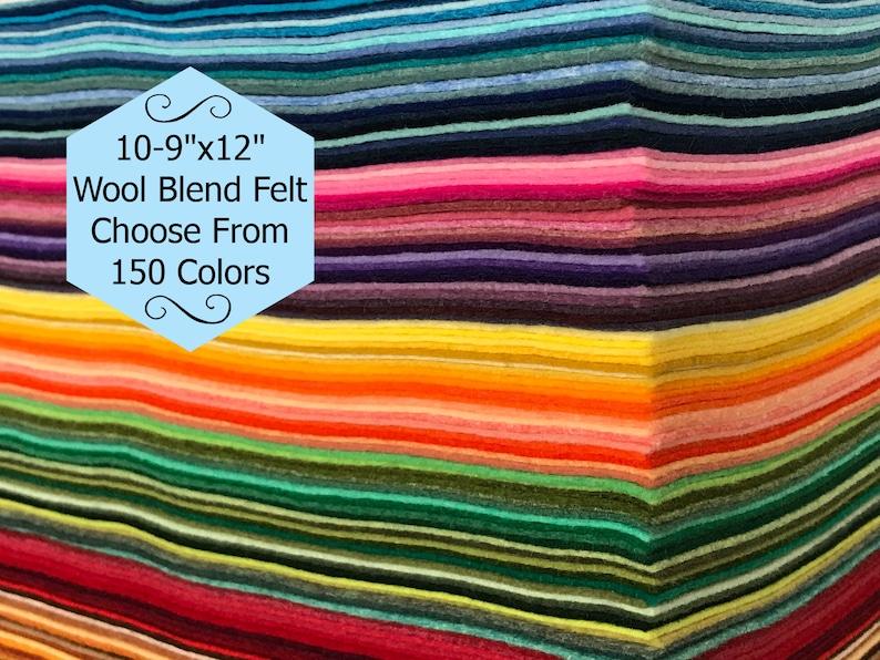 Wool Felt  10 sheets 9x12 inch  Wool Blend Felt  Wool Felt image 1