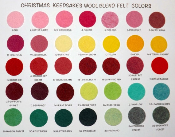 Wool Felt Sample Color Chart Wool Blend Felt Chart Etsy