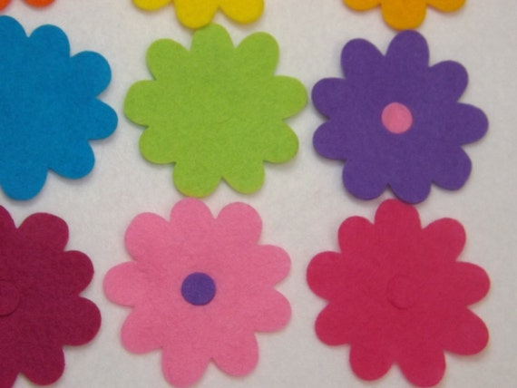 x18 Felt Flower Embellishments.Die cuts