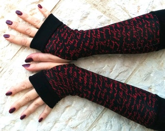 Fingerless   gloves  News in black and red Completely Lined with Cuffs