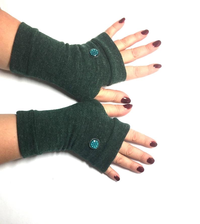 Dark Green Short Jersey Fingerless Gloves