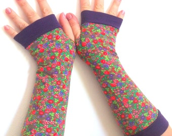 SALE GLOVES Fingerless   gloves  with pattern Completely Lined with Cuffs