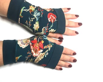 Fingerless gloves with flowers all  sizes Completely Lined with Cuffs