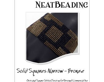 Pattern, Solid Squares Narrow - Bronze, Beaded Bracelet, Square Stitch or Loomwork