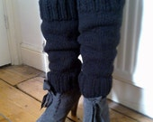 Black hand knitted leg warmers