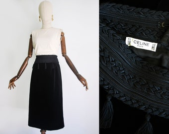 9ac2179570b7d9 CELINE skirt velvet cotton. Braided braid trim at the wait. Decorated with  fringe tassels. Vintage from 1990s. Medium