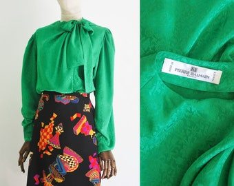 2ec38edc PIERRE BALMAIN vintage blouse. Green delicate high quality brocade  polyester fabric. Hidden buttons and bow on the neck. Excellent condition