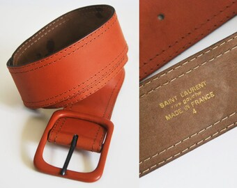 68682e03c5d SAINT LAURENT Belt. leather in tile color (between orange and brown). YSL  vintage of the 1990s. Yves Saint Laurent.