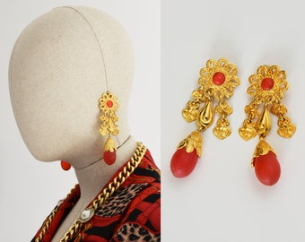 VINTAGE new earrings, Dead stock gold tone and red acrylic gems  clip-on earrings, 1980s
