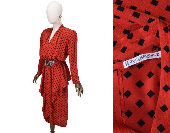 GUY LAROCHE dress, vintage 1990s silk dress,  red